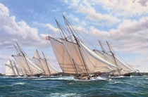 The first defence of the America's Cup, 8th August, 1870: Magic, Cambria, America, Dauntless and Idler racing in the Narrows, off the entrance to New York harbour