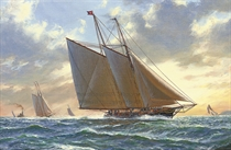 The America's Cup, 11th August, 1876 - Madeleine versus Countess of Dufferin:  Madeleine racing off Sandy Hook