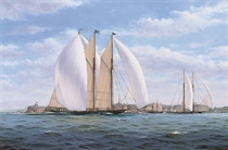 The New York Yacht Club's three-masted racing schooner Atlantic racing off Castle Gardens, New York Harbour, 1905
