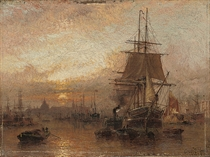 Shipping in the Pool of London at dusk