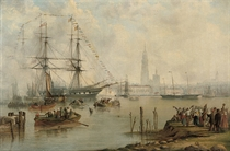 The British Royal Yacht Victoria & Albert (II) arriving at Antwerp with the newly-wed Prussian Crown Prince and Princess aboard, 3rd February 1858