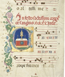 HISTORIATED INITIAL C on a lea