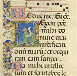 DAVID THE PSALMIST, in an initial L, on a leaf from an ILLUM...