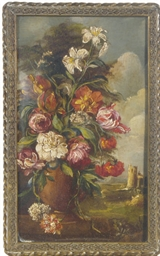 Still life of a vase of flower