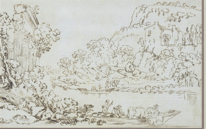 River landscape with architect