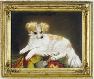 Portrait of a dog resting on a