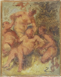 Fauns and Satyr - an oil sketc
