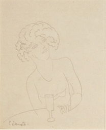Seated woman with wine glass a