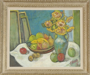 Still life of sunflowers and f