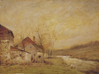 Farmhouse by a stream