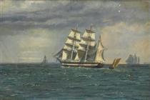 The barkentine  Gerson M....... off Copenhagen headed for Kartrup