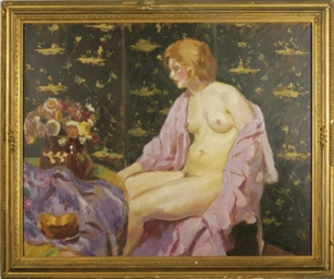Female nude seated in front of