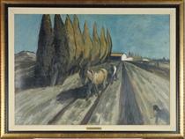 Laboureur près des cypres (Provence)