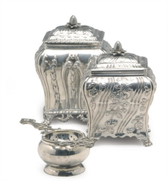 TWO GEORGE III SILVER TEA CADD