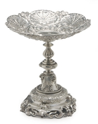 A VICTORIAN SILVER STAND,