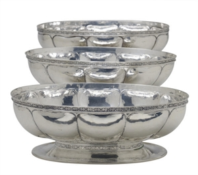 THREE SILVER LOBED OVAL DISHES