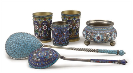 A GROUP OF RUSSIAN CLOISONNÈ ENAMELED AND SILVER TABLEWARES,...
