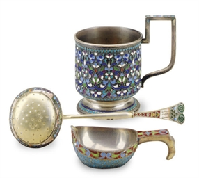 THREE RUSSIAN ENAMELED SILVER