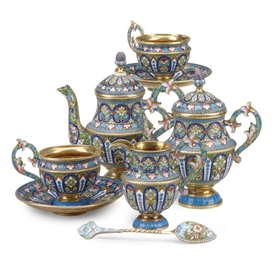 A RUSSIAN ENAMELED SILVER TEA