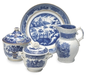 FOUR ENGLISH PORCELAIN BLUE PR