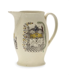 AN ENGLISH MASONIC CREAMWARE T
