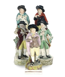 FIVE STAFFORDSHIRE PEARLWARE F