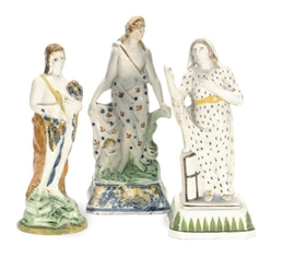 THREE ENGLISH PEARLWARE FIGURE