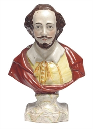 A STAFFORSHIRE BUST OF 'SHAKSP