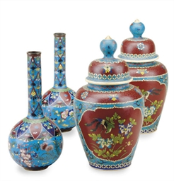 A PAIR OF CLOISONNE ENAMEL BOT