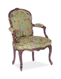 A LOUIS XV BROWN PAINTED AND C