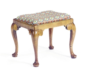 AN ENGLISH WALNUT STOOL,