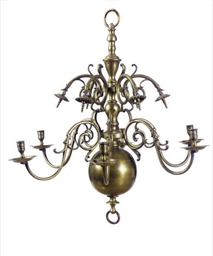 A BRASS SIX-LIGHT CHANDELIER,