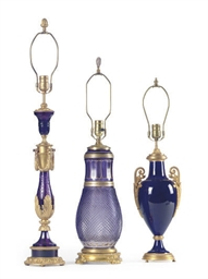TWO ORMOLU-MOUNTED AMETHYST GL