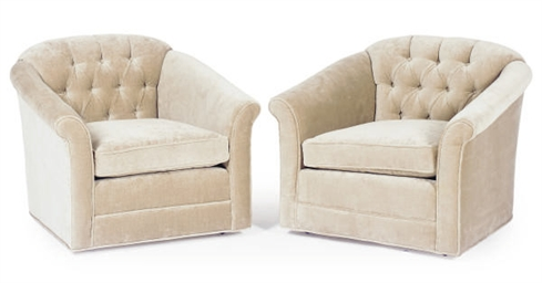 A PAIR OF VELVET-UPHOLSTERED L