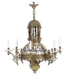 A GILT-METAL AND PORCELAIN SIX