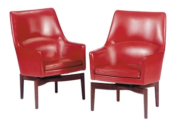 A PAIR OF TEAK AND RED LEATHER