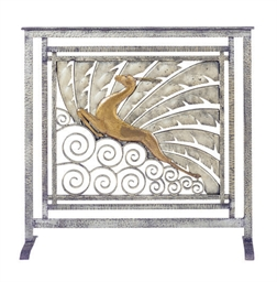 AN IRON AND COPPER FIRESCREEN,