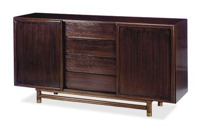 A MAHOGANY AND BRASS SIDEBOARD