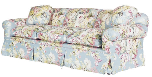 A THREE-SEAT FLORAL CHINTZ UPH