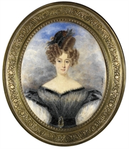 A young lady, in grey dress trimmed in black satin ribbon and large white puff sleeves, a black belt with a gold buckle at her waist, feathers and a comb in her elaborately dressed hair