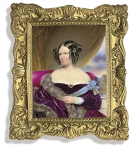 A lady called Baroness von Wacquant-Geozelles, in purple velvet dress with white lace trim and gem-set brooch at corsage, the blue sash of a lady's order, possibly the Bavarian Order of St. Elizabeth, tied in a bow and pinned at her left shoulder with a badge, with tassels, fur stole draped over her right shoulder, three drop-pearl pin worn in her upswept hair, seated on a raspberry chair draped with fur; green curtain and landscape background