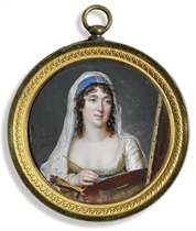 A lady, possibly the artist Marguerite Gérard (1761-1837), in pale green dress and blue sash, wearing blue headdress and white falling veil on her dark curling hair, holding a paint brush and palette before a canvas