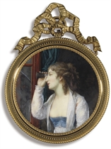 A young lady, in profile to the left, holding an eye-glass up to her right eye looking out of a window, in loose white dress with blue bodice revealing her right breast, white surcoat, gold hoop earring, her dark brown hair curled and upswept and falling in ringlets; blue curtain background