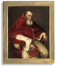 Alessandro Farnese (1468-1549), Pope Paul III (1534-1549), seated three-quarter-length, in papal robes