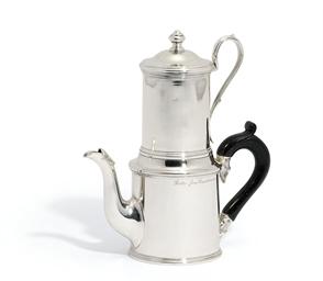 A VICTORIAN SILVER COFFEE-PERC