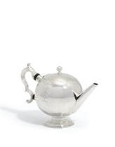 A GEORGE II SCOTTISH SILVER TEAPOT