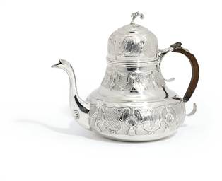 A GERMAN SILVER TEAPOT