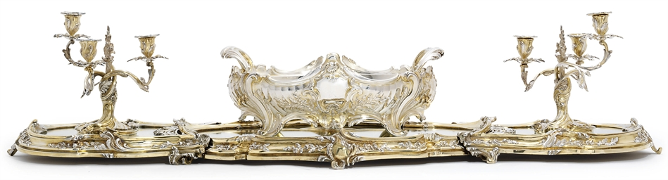 A FRENCH PARCEL-GILT SILVER-PL
