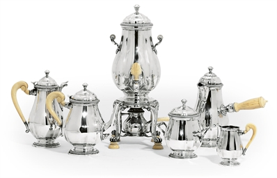 A FRENCH SILVER SIX-PIECE TEA