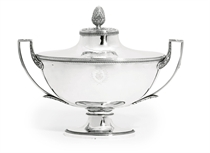 A FRENCH SILVER SOUP-TUREEN, COVER AND LINER